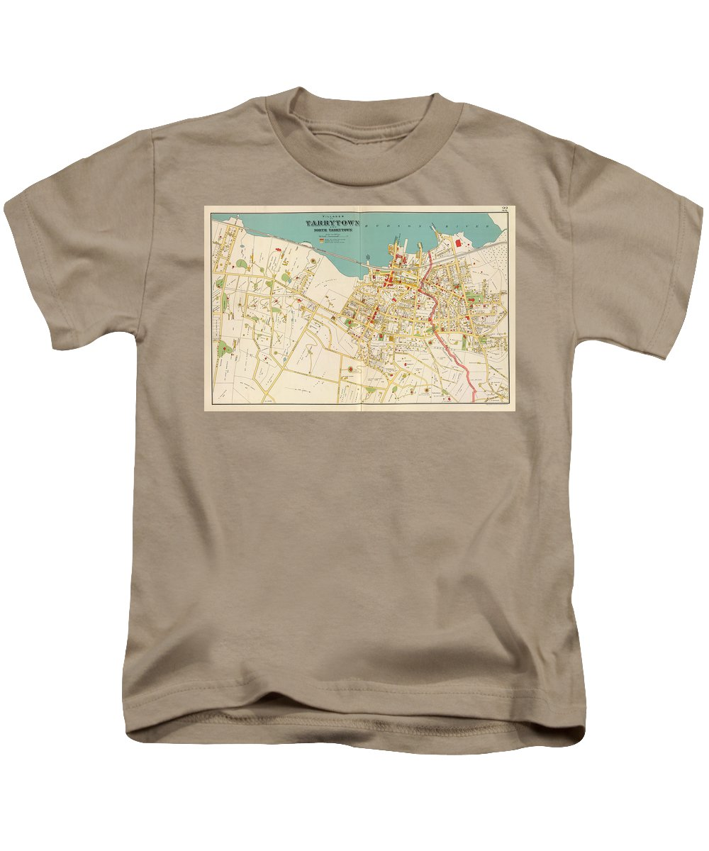 Tarrytown Kids T-Shirt featuring the drawing Vintage Map Of Tarrytown New York - 1893 by CartographyAssociates