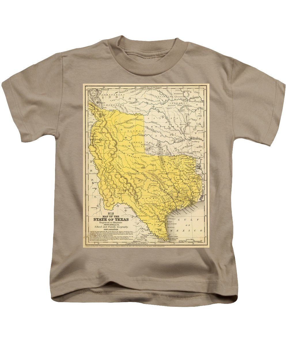 Texas Kids T-Shirt featuring the drawing Vintage Map Of Texas - 1847 by CartographyAssociates