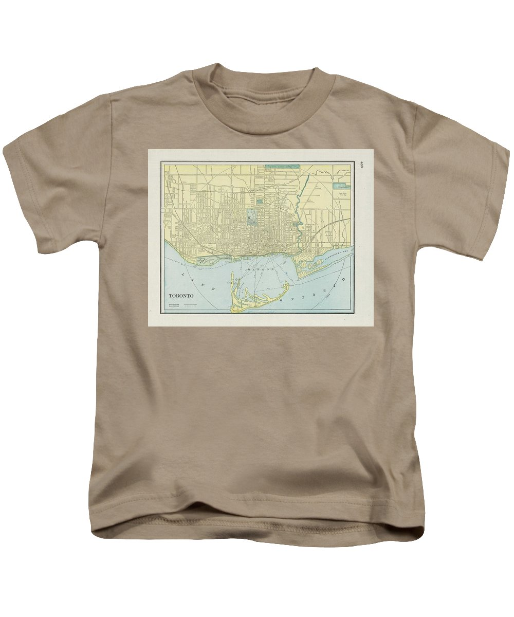 Toronto Kids T-Shirt featuring the drawing Vintage Map Of Toronto - 1901 by CartographyAssociates