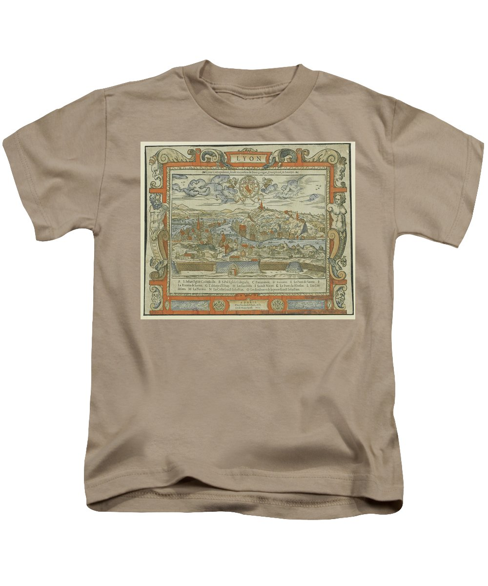 Lyon Kids T-Shirt featuring the drawing Vintage Pictorial Map Of Lyon France - 1555 by CartographyAssociates