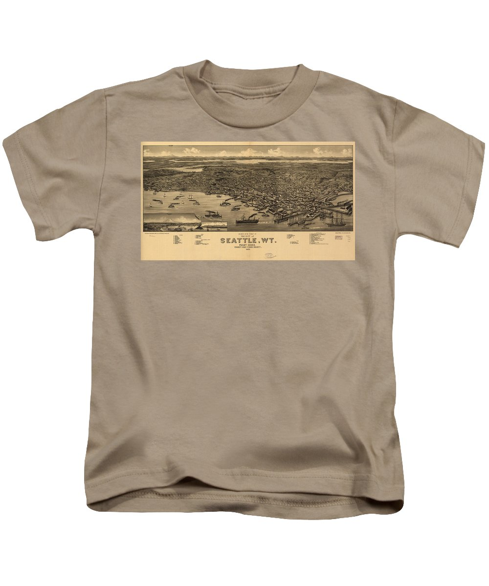 Seattle Kids T-Shirt featuring the drawing Vintage Pictorial Map Of Seattle - 1884 by CartographyAssociates