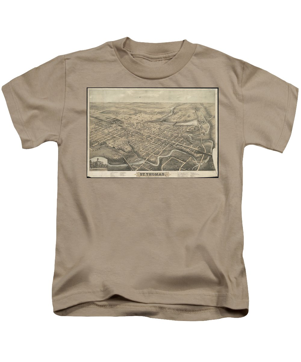 St Thomas Kids T-Shirt featuring the drawing Vintage Pictorial Map Of St. Thomas Ontario - 1875 by CartographyAssociates