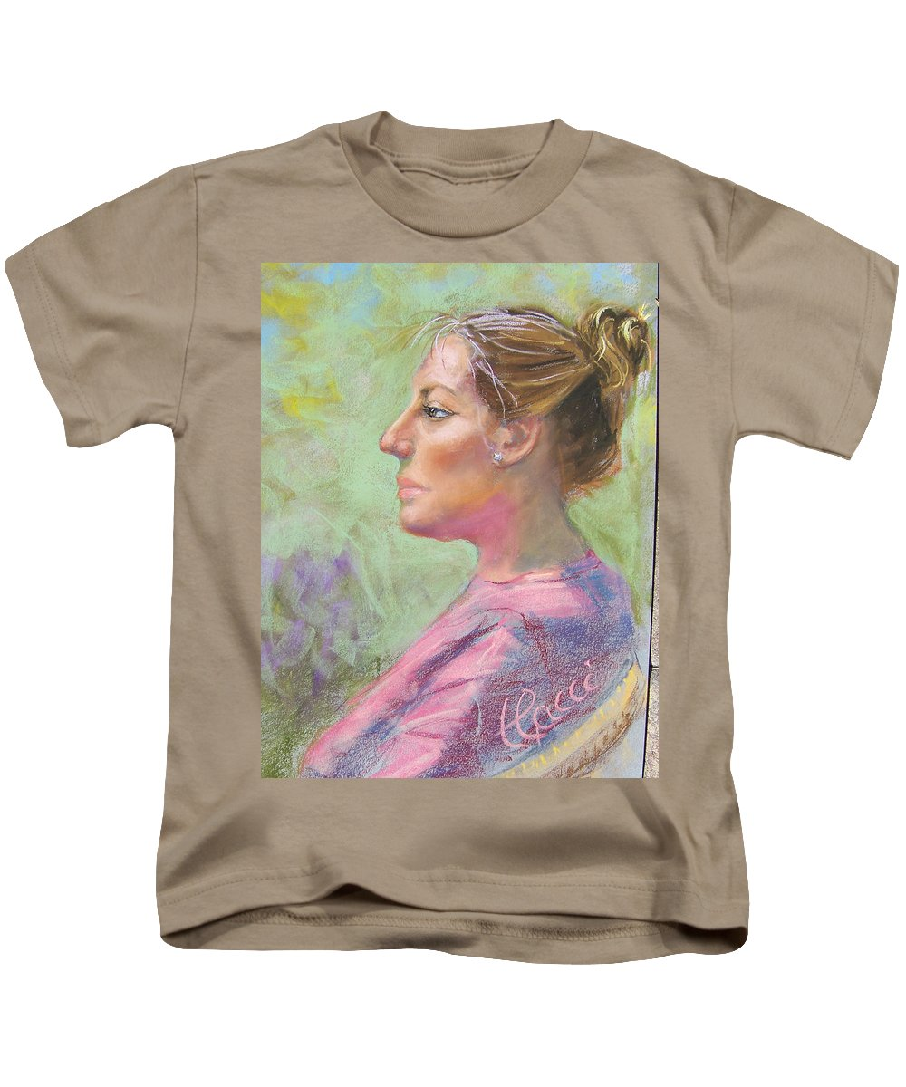 Portrait Kids T-Shirt featuring the painting Virginia by Laurie Paci