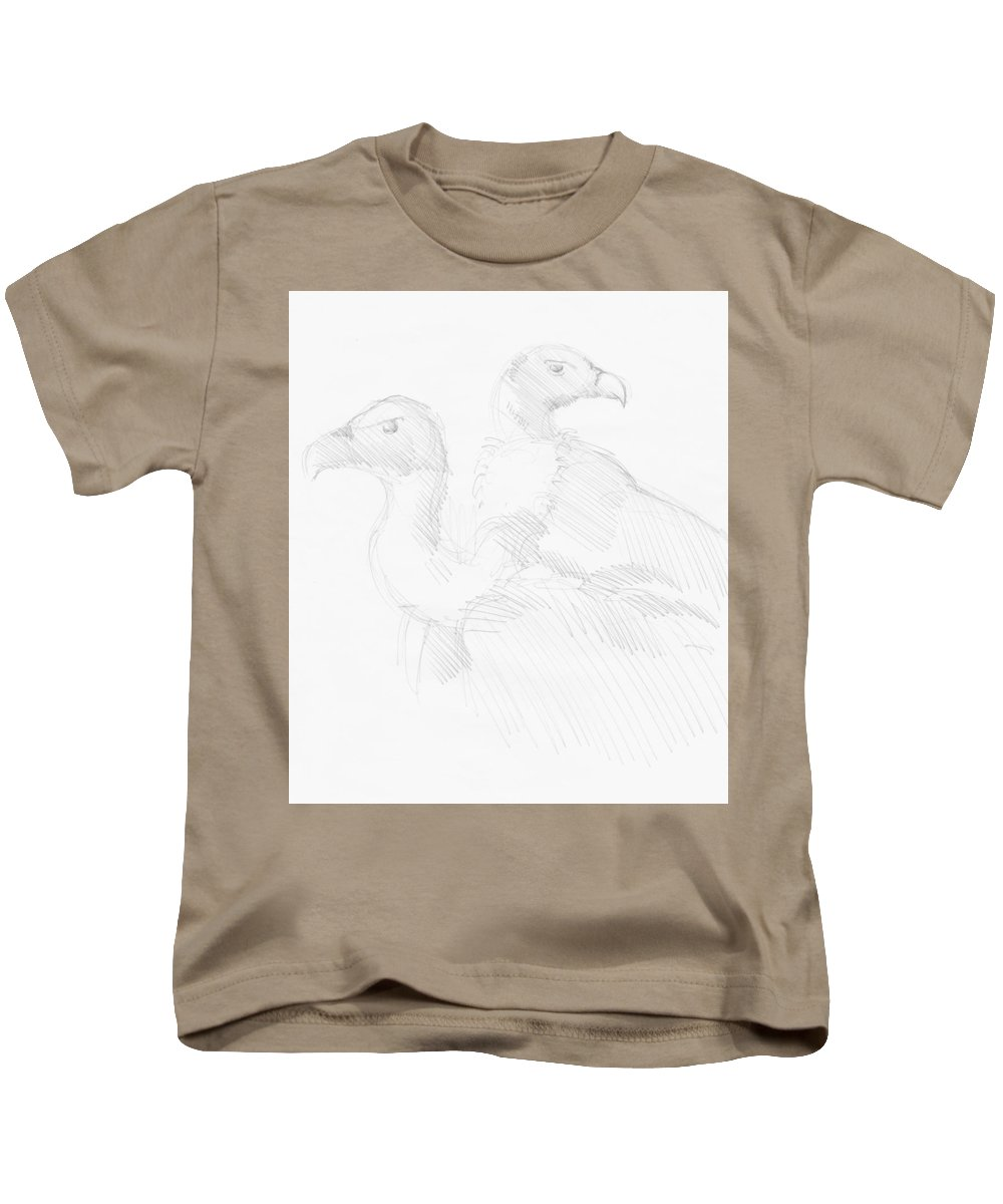 Vulture Kids T-Shirt featuring the drawing Vultures Drawing by Mike Jory