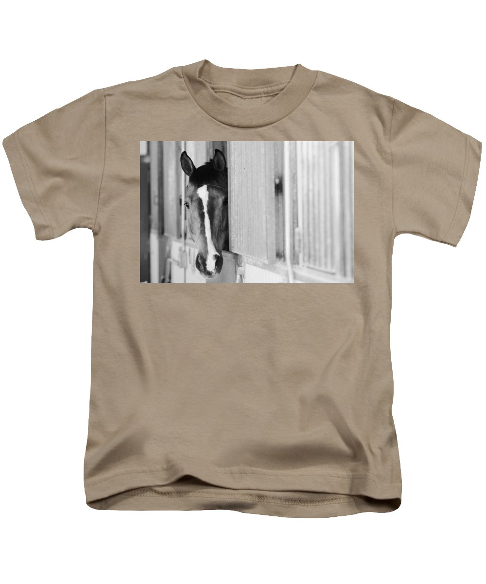 Horse Kids T-Shirt featuring the photograph Waiting For A Ride Black And White by Jill Reger