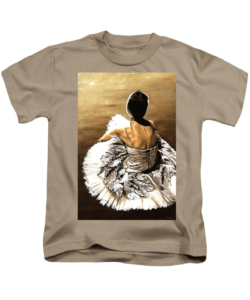 Ballet Kids T-Shirt featuring the painting Waiting In The Wings by Richard Young