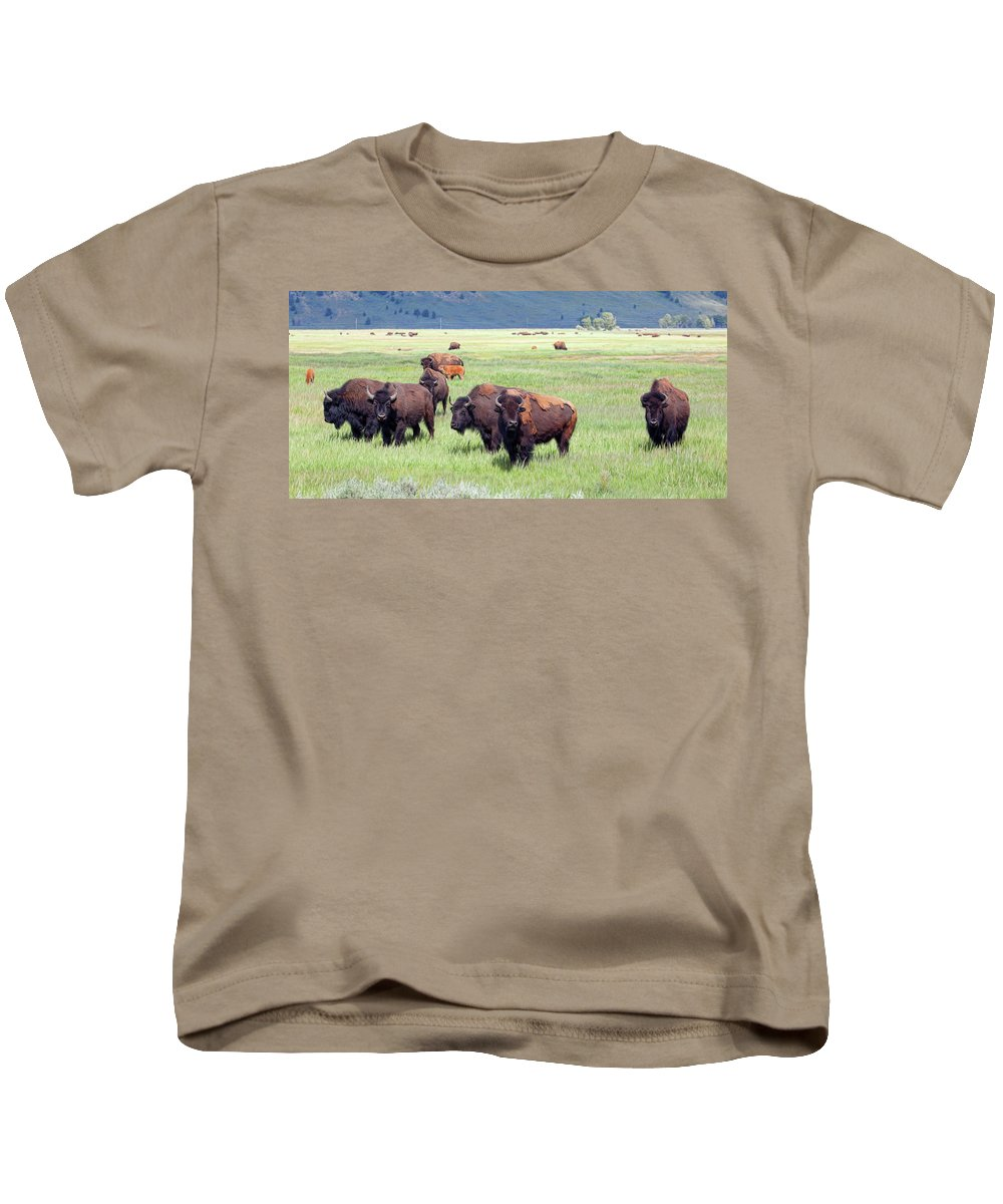 Bison Kids T-Shirt featuring the photograph Waiting To Merge by Stephen Schwiesow