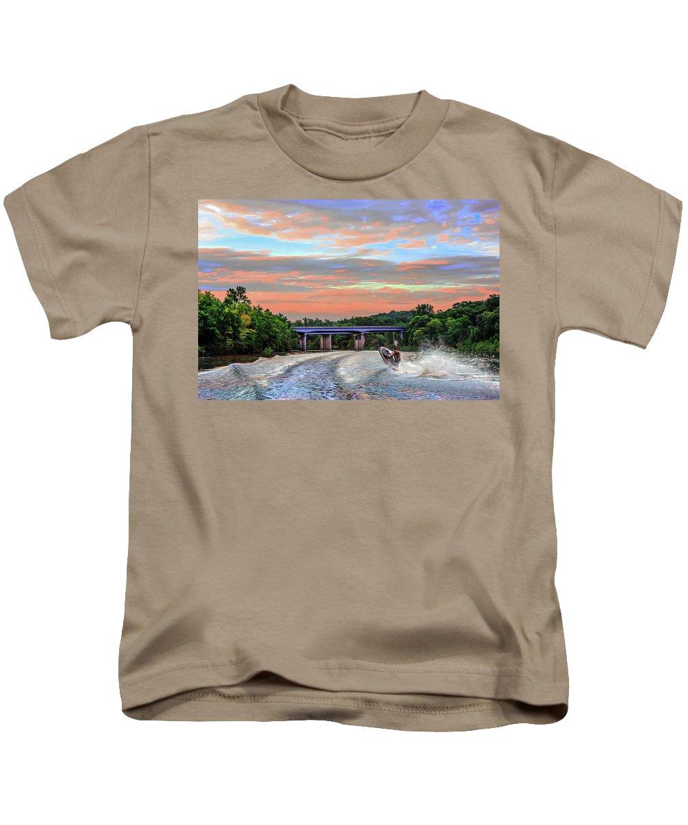 Action Kids T-Shirt featuring the photograph Wake Jumper by Robert FERD Frank