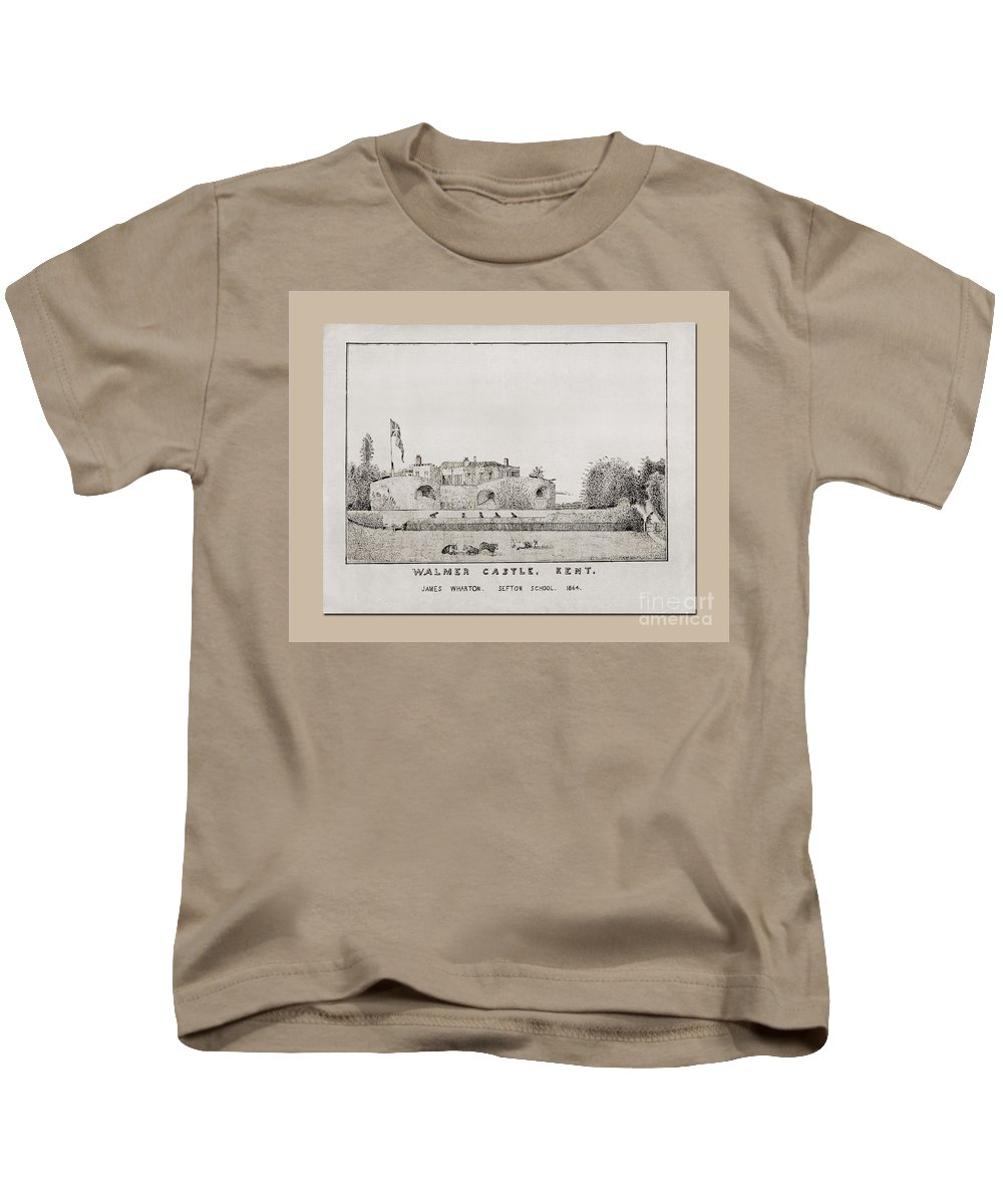 Walmer Castle Kent Kids T-Shirt featuring the drawing Walmer Castle Kent by Donna L Munro