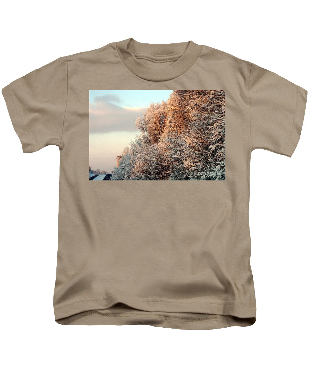 Clay Kids T-Shirt featuring the photograph Warm Light Snow by Clayton Bruster