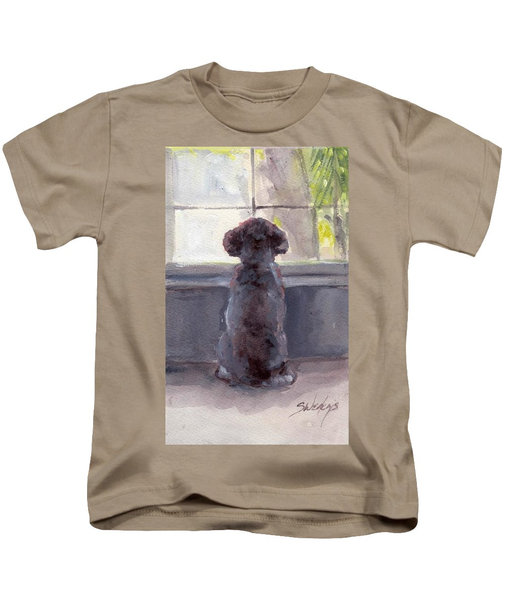 Grey Poodle Kids T-Shirt featuring the painting Watching For Spring by Sheila Wedegis