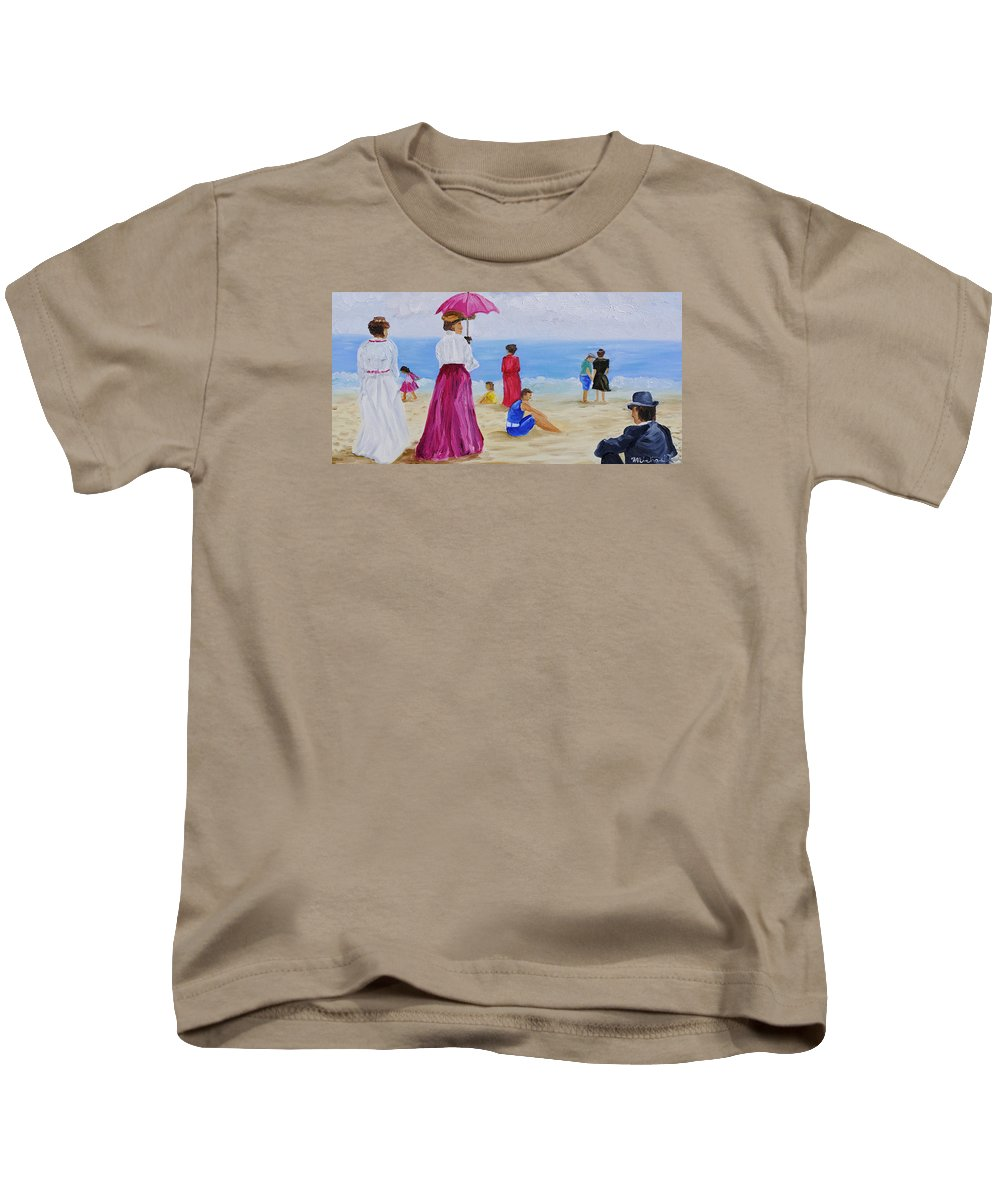 Beach Scene Kids T-Shirt featuring the painting Watchman by Michael Lee