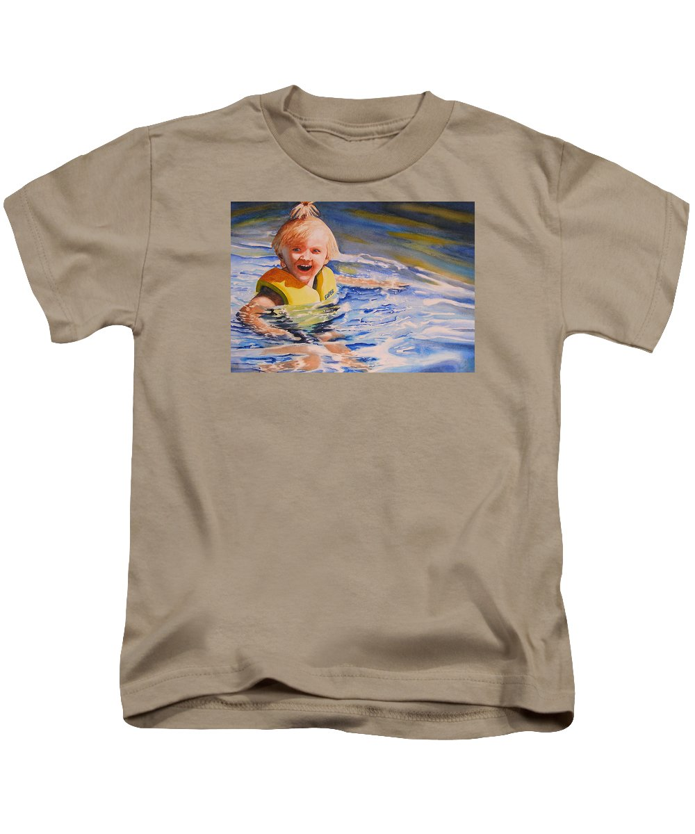 Swimming Kids T-Shirt featuring the painting Water Baby by Karen Stark