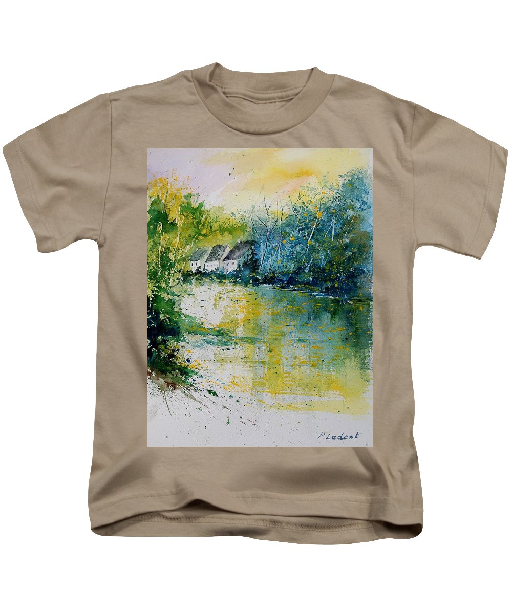 River Kids T-Shirt featuring the painting Watercolor 011108 by Pol Ledent