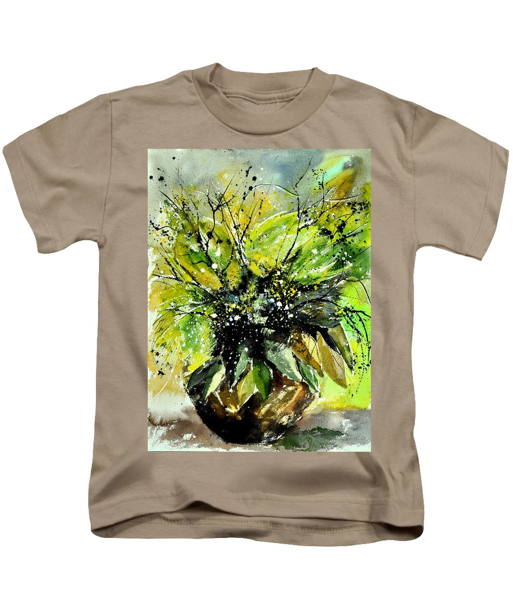 Flowers Kids T-Shirt featuring the painting Watercolor 016070 by Pol Ledent
