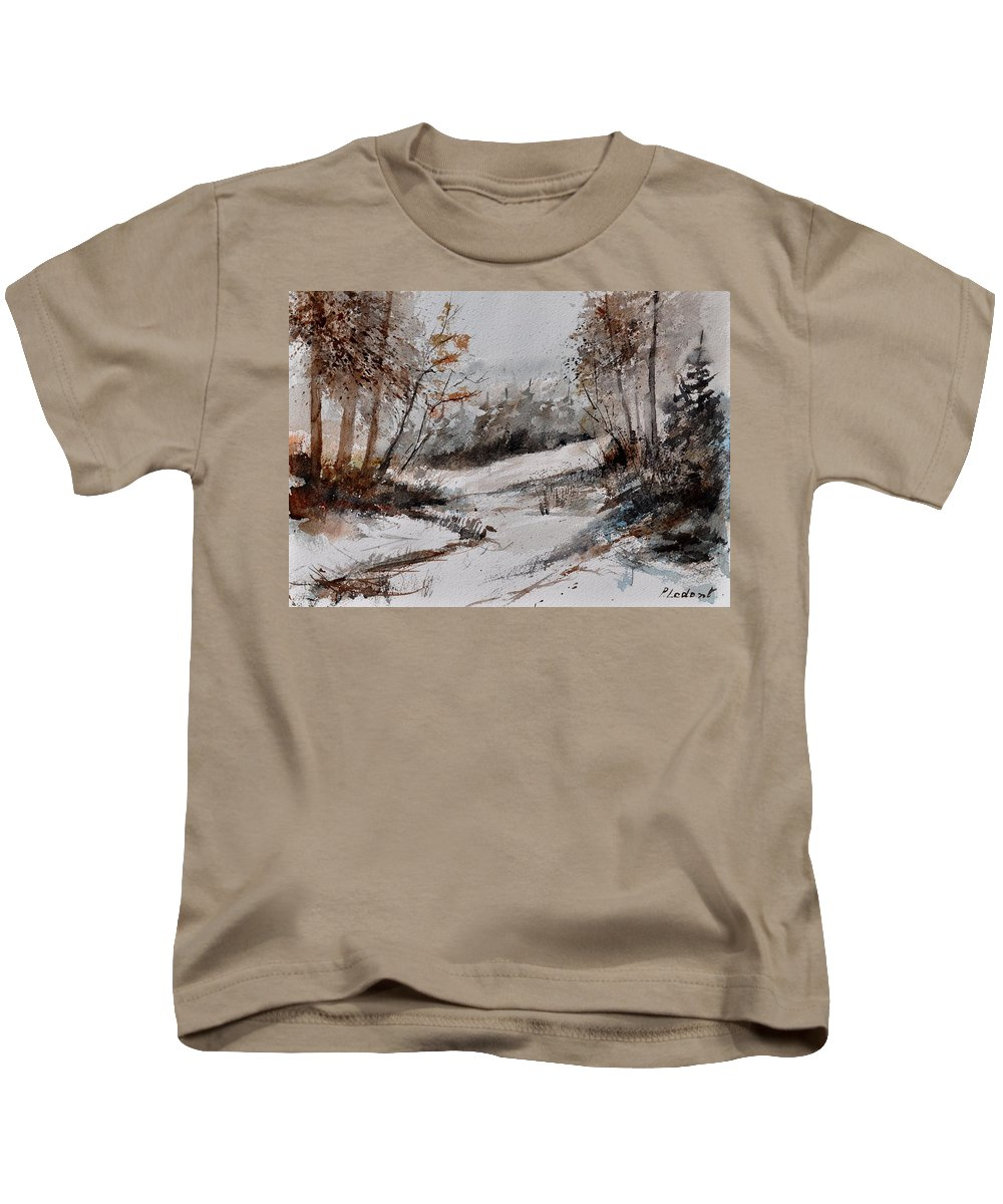 Landscape Kids T-Shirt featuring the painting Watercolor 017051 by Pol Ledent
