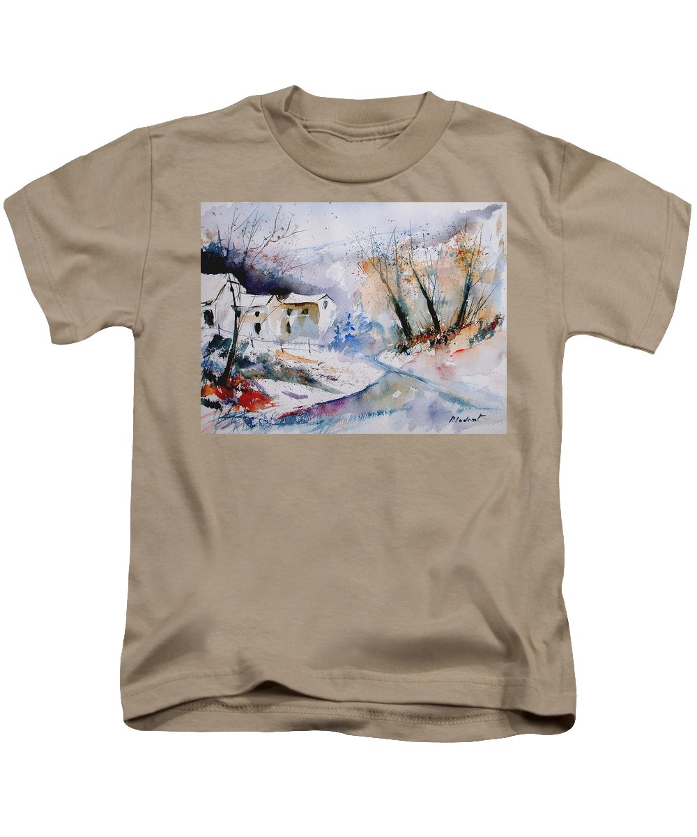 Winter Kids T-Shirt featuring the painting Watercolor 050408 by Pol Ledent