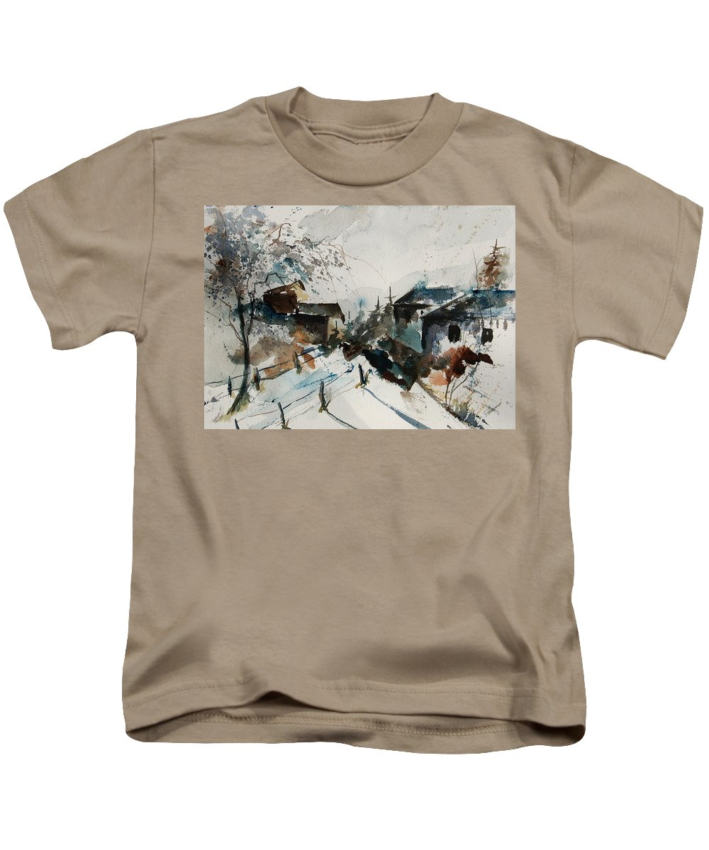 Winter Kids T-Shirt featuring the painting Watercolor 080707 by Pol Ledent