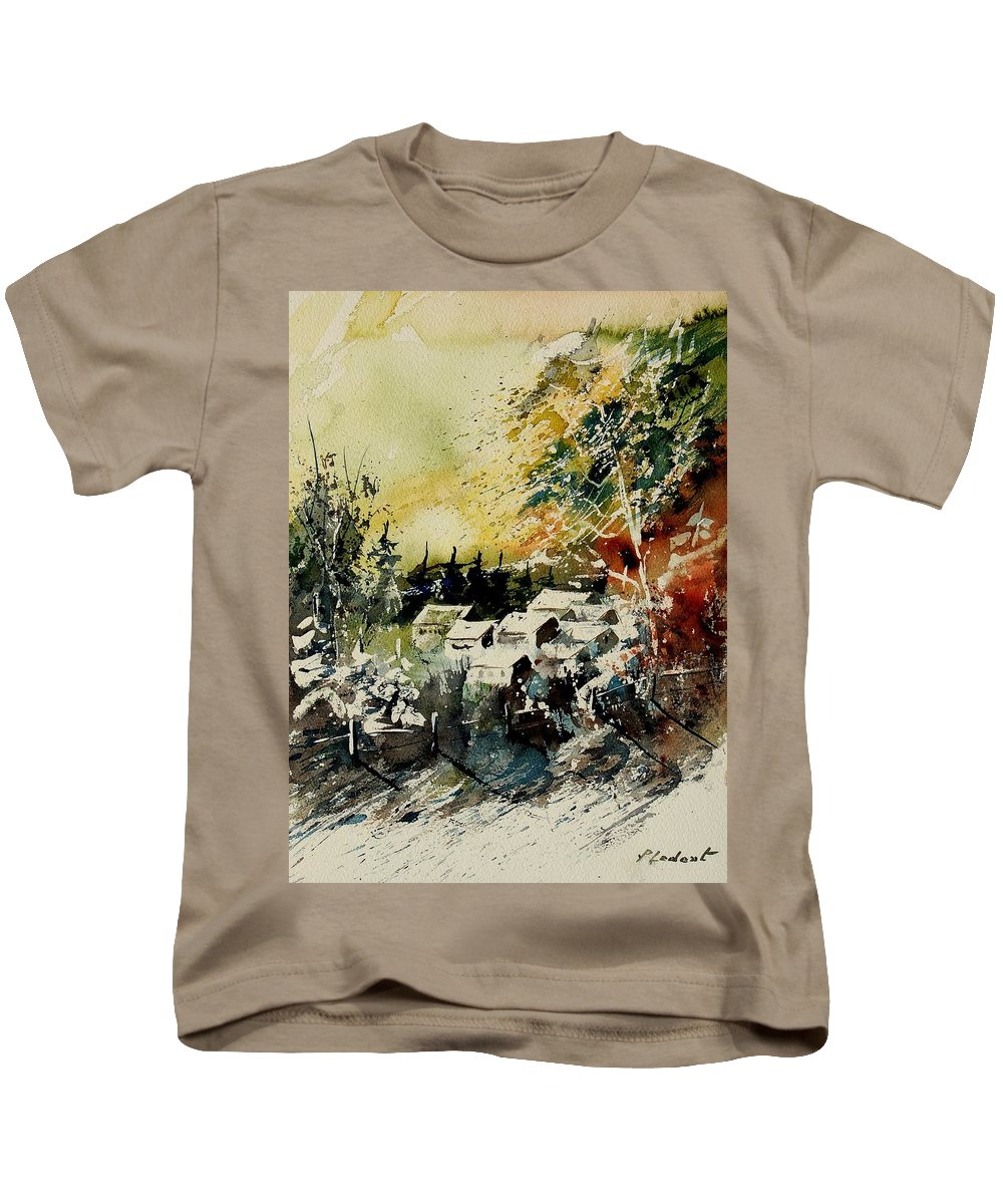 Village Kids T-Shirt featuring the painting Watercolor 130708 by Pol Ledent