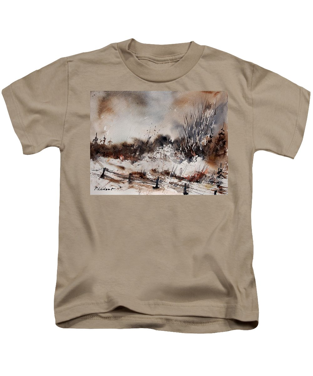 Winter Kids T-Shirt featuring the painting Watercolor 150708 by Pol Ledent