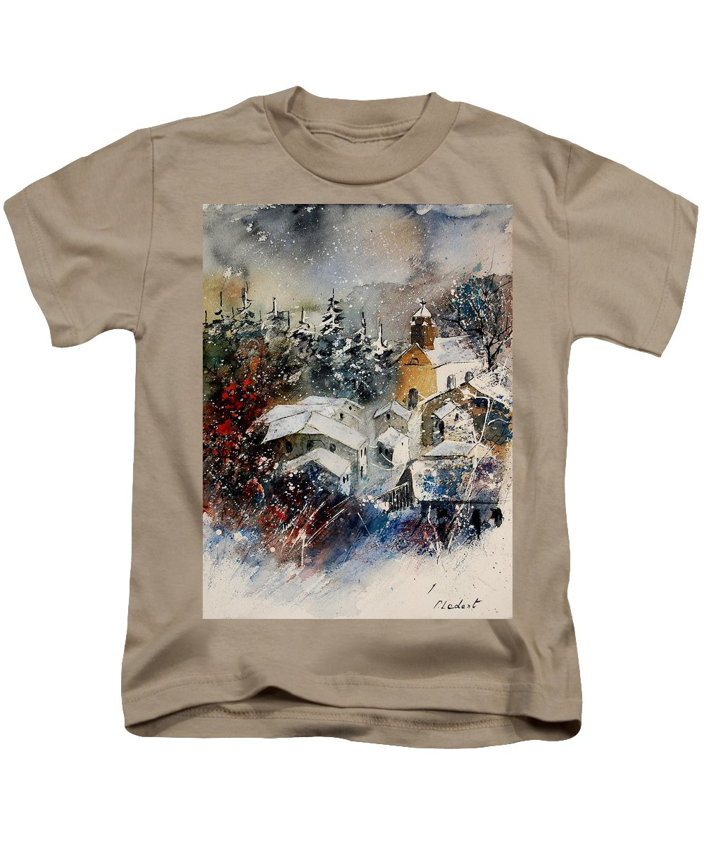 Winter Kids T-Shirt featuring the painting Watercolor 160908 by Pol Ledent