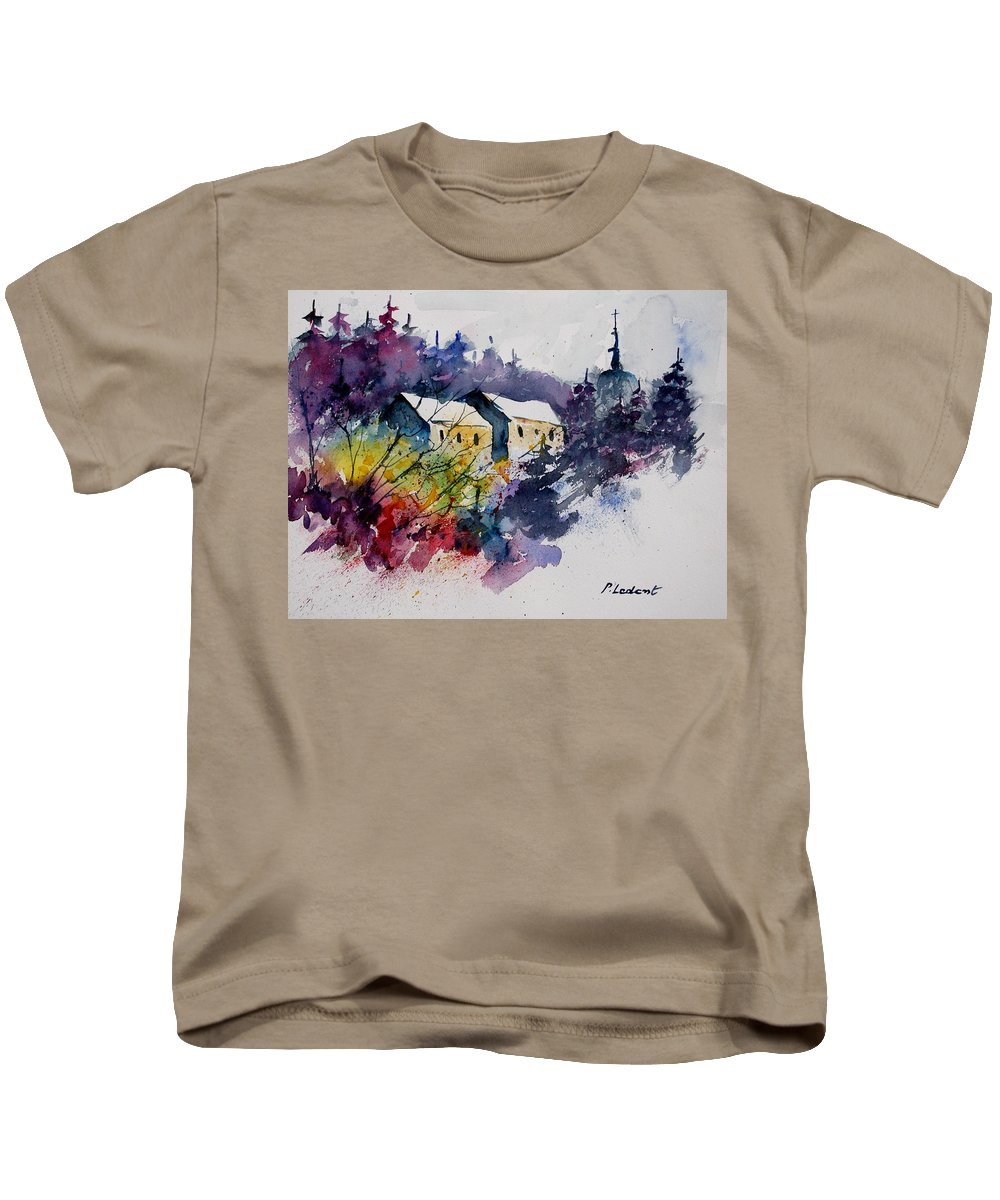 River Kids T-Shirt featuring the painting Watercolor 231207 by Pol Ledent