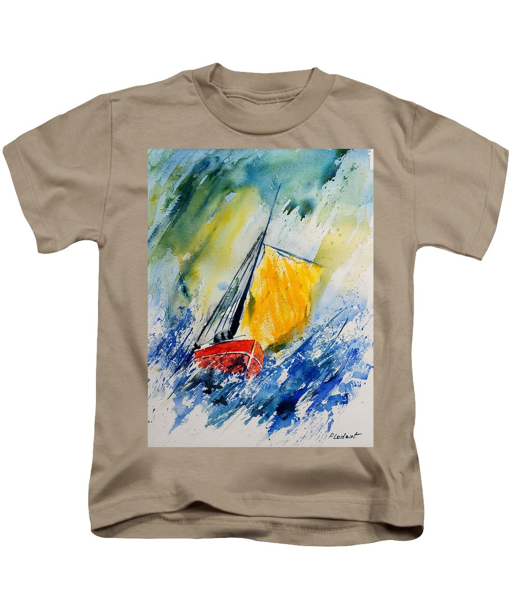 Sea Waves Ocean Boat Sailing Kids T-Shirt featuring the painting Watercolor 280308 by Pol Ledent