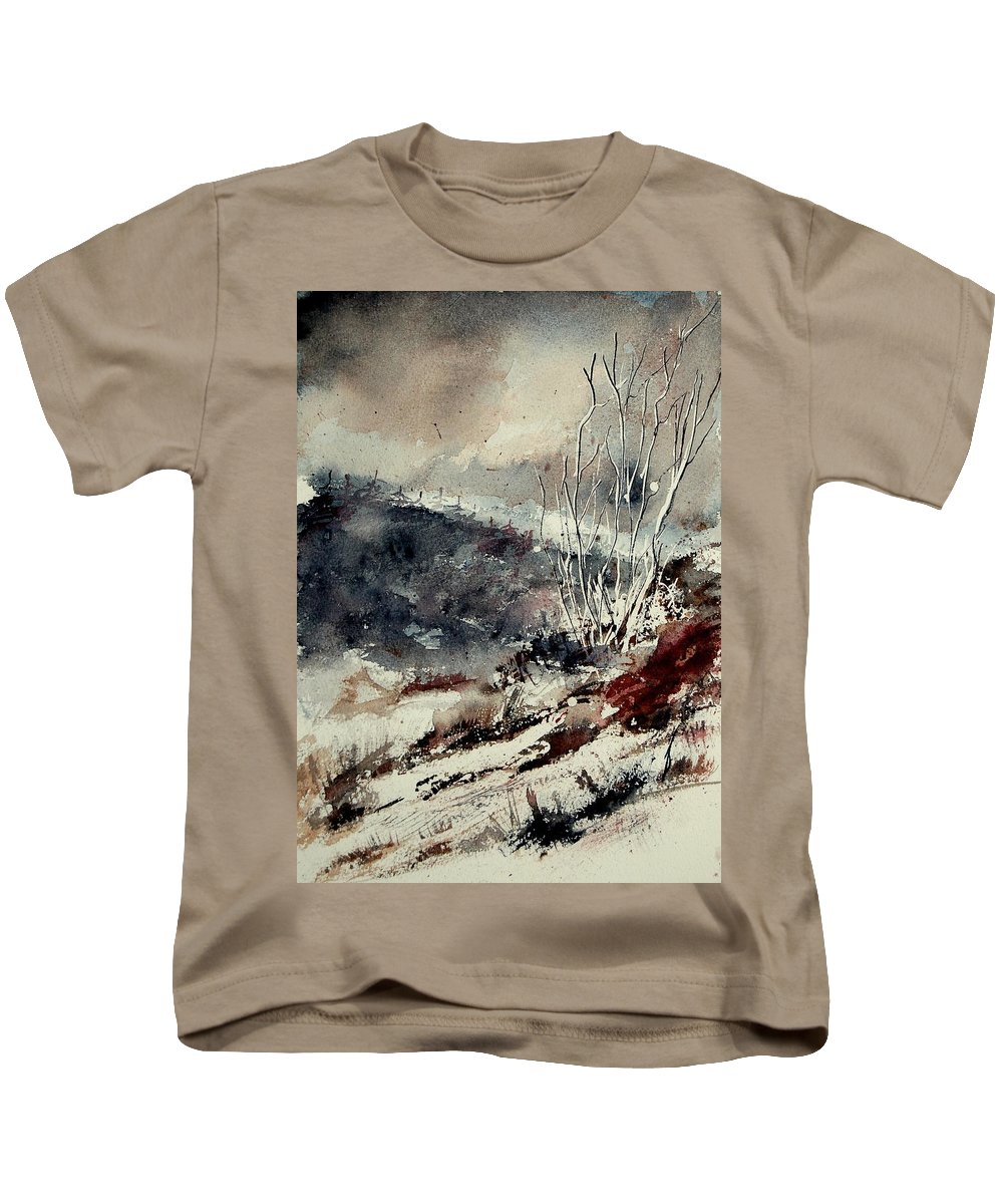 Winter Kids T-Shirt featuring the painting Watercolor 281207 by Pol Ledent