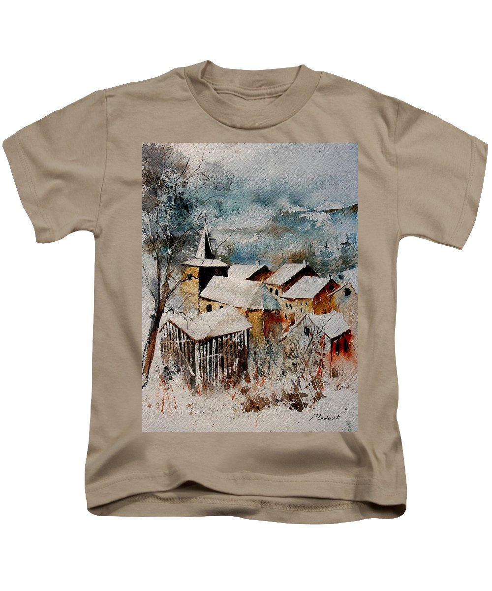 Winter Kids T-Shirt featuring the painting Watercolor 9040122 by Pol Ledent