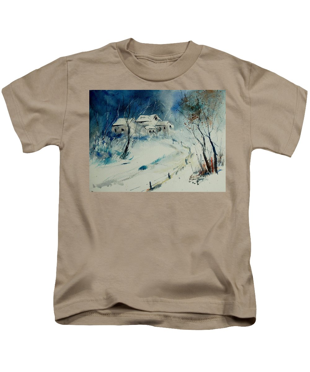 Winter Kids T-Shirt featuring the painting Watercolor 905001 by Pol Ledent