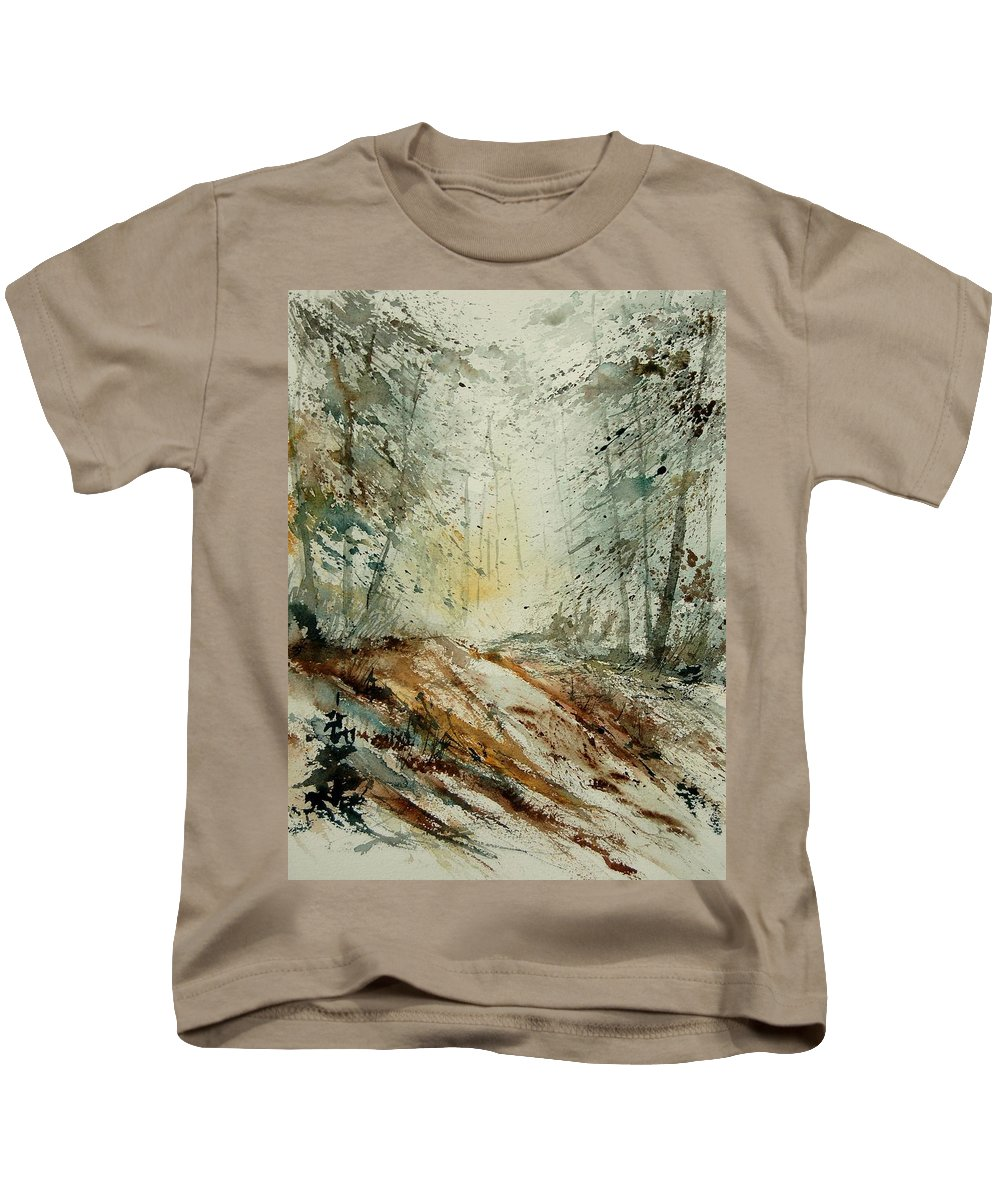 River Kids T-Shirt featuring the painting Watercolor 907013 by Pol Ledent