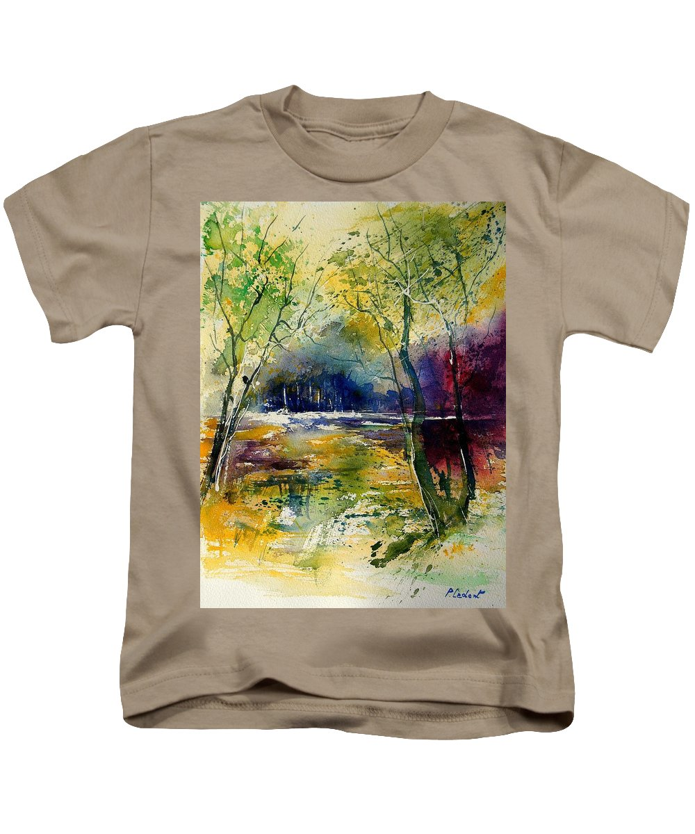 River Kids T-Shirt featuring the painting Watercolor 908010 by Pol Ledent