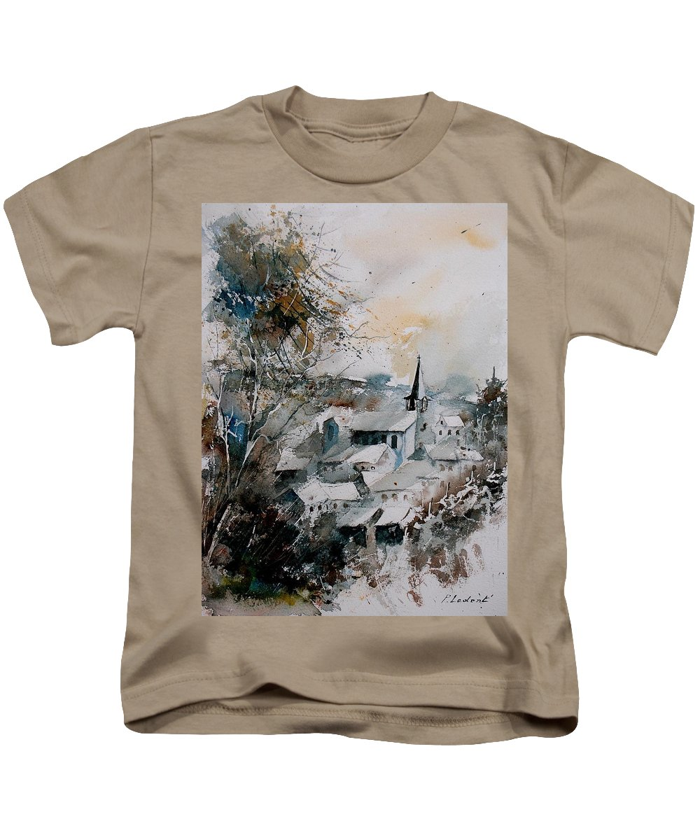 Winter Kids T-Shirt featuring the painting Watercolor Houyet by Pol Ledent