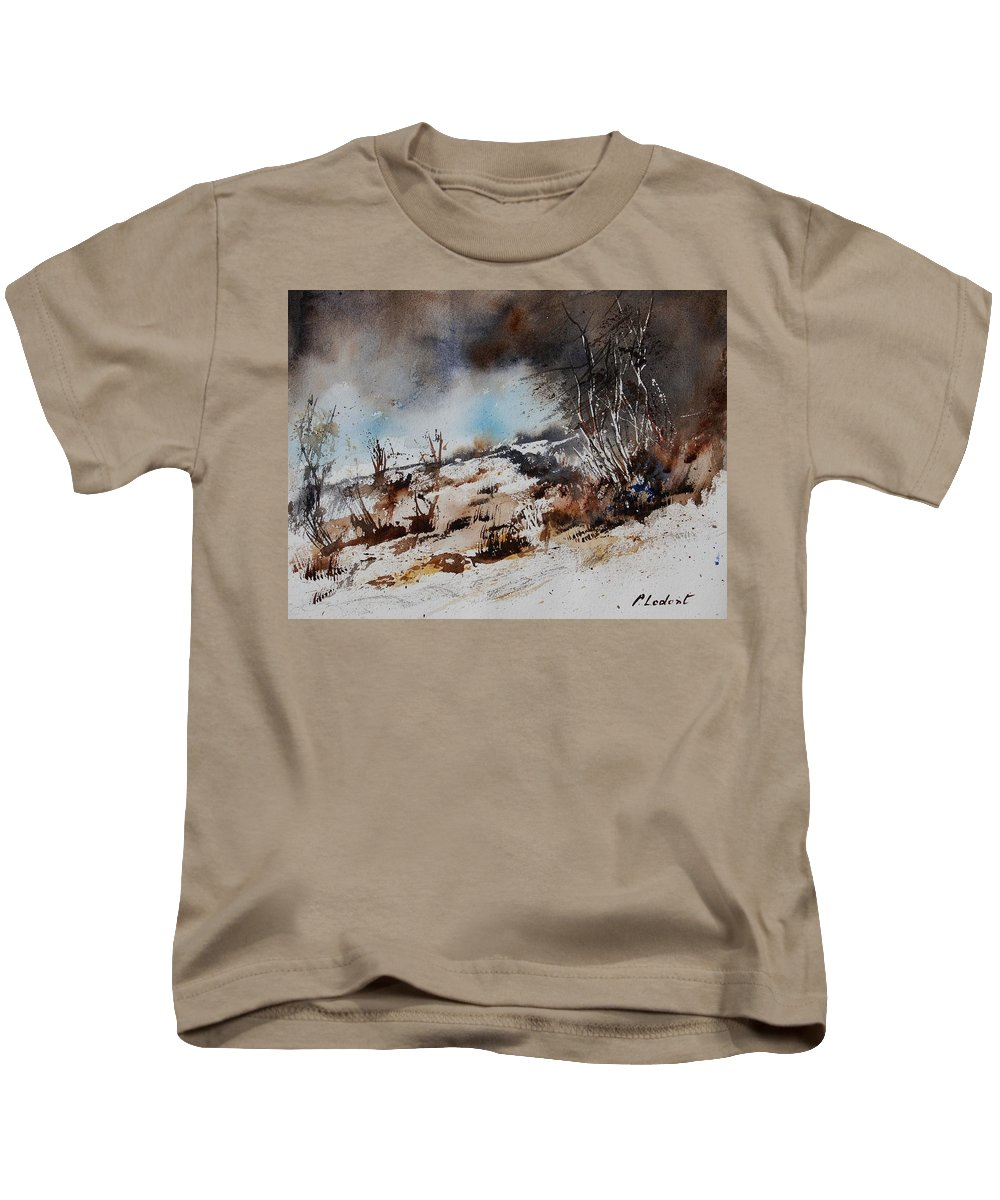River Kids T-Shirt featuring the painting Watercolor Jjook by Pol Ledent