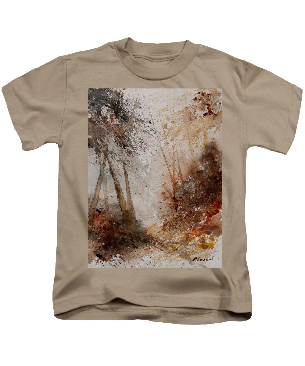 Landscape Kids T-Shirt featuring the painting Watercolor Misty Path by Pol Ledent