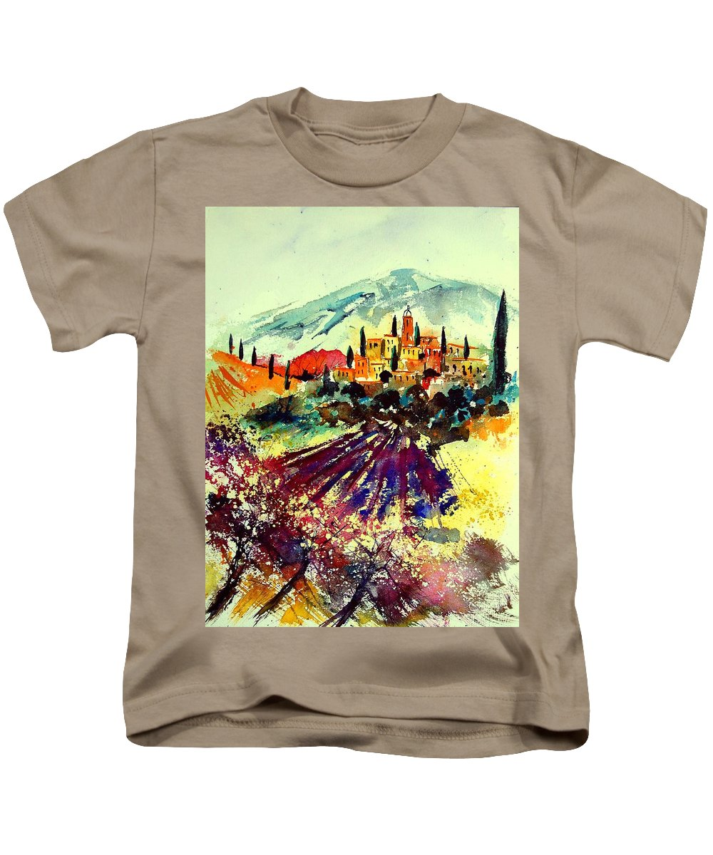 Poppies Kids T-Shirt featuring the painting Watercolor Provence 07 by Pol Ledent