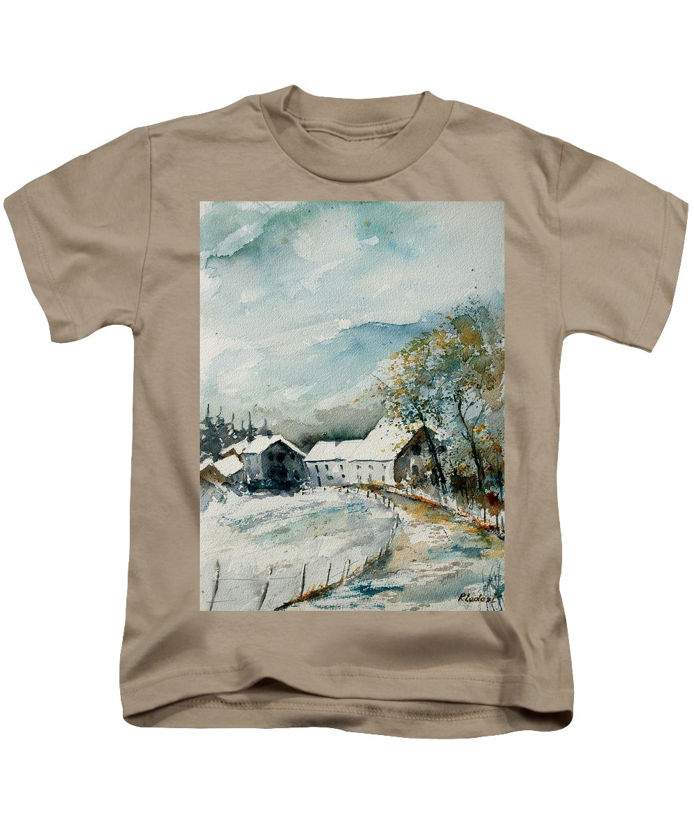 River Kids T-Shirt featuring the painting Watercolor Sechery 1207 by Pol Ledent