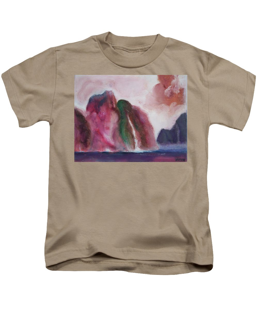 Abstract Painting Kids T-Shirt featuring the painting Waterfull by Suzanne Udell Levinger