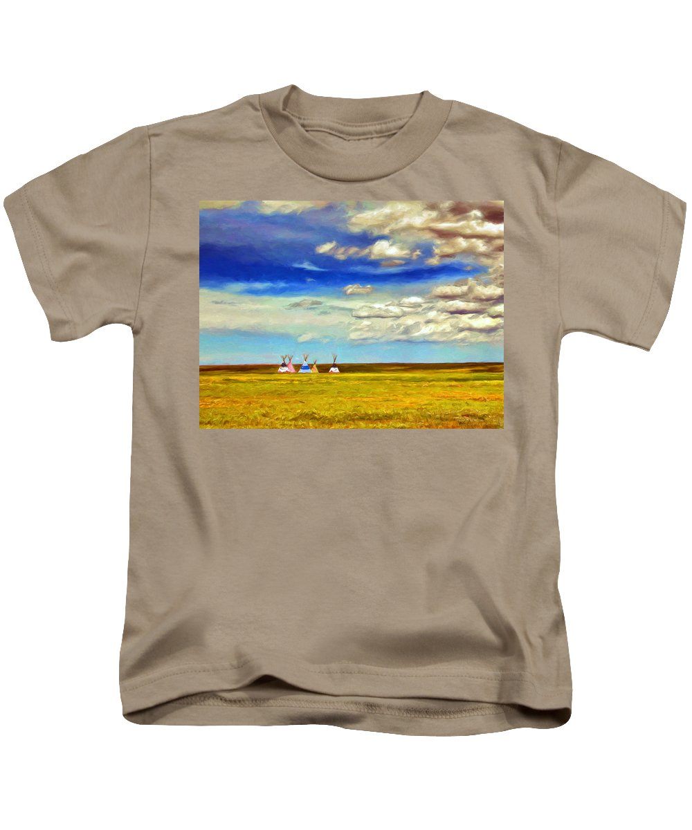 Teepees Kids T-Shirt featuring the painting We Belong To This Land by Dominic Piperata