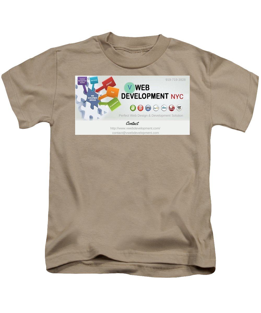 Website Development Company In Nyc Kids T-Shirt featuring the mixed media Website Development Company In Nyc by Vwebdevelopment