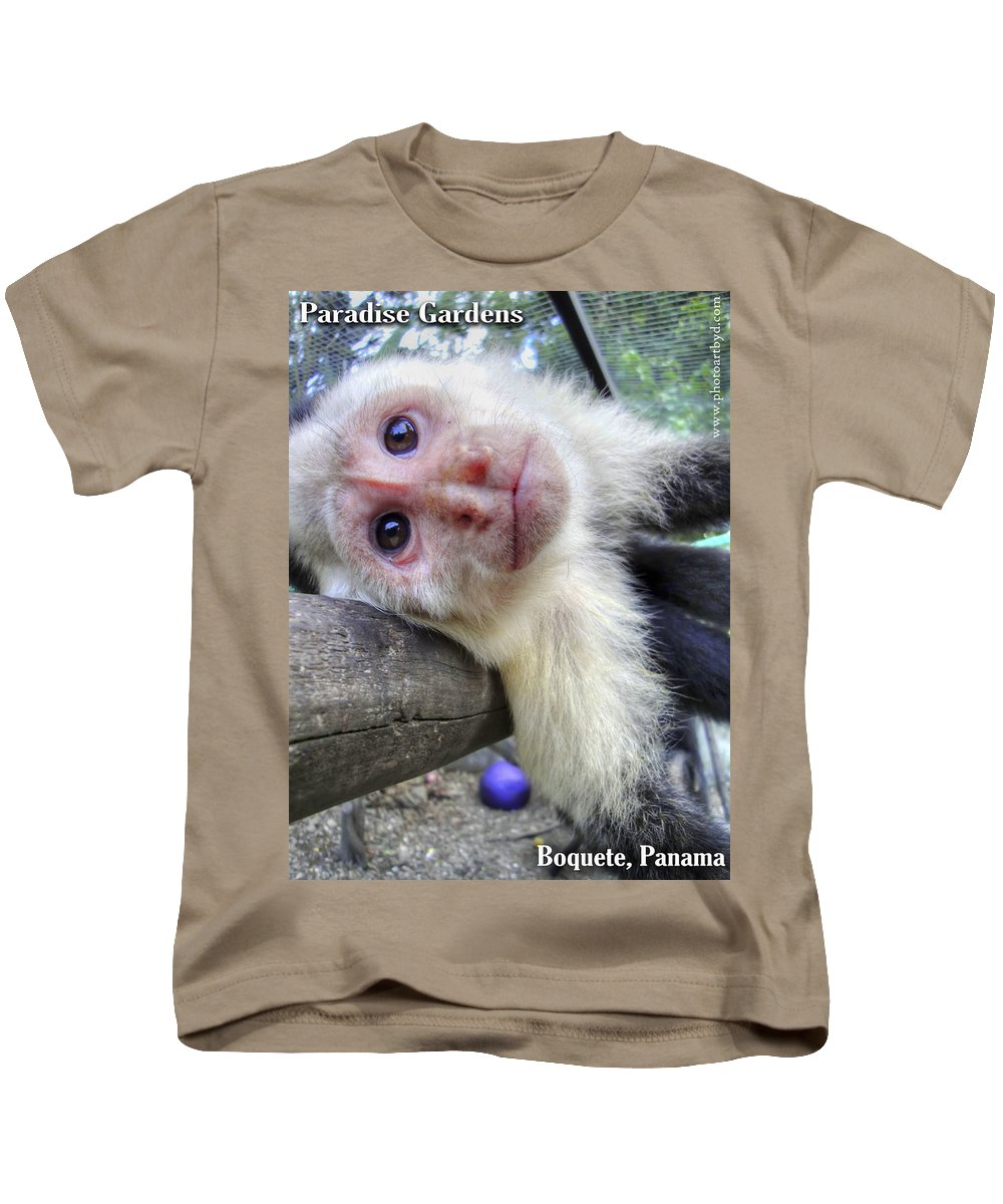 Capuchin Monkey Kids T-Shirt featuring the photograph Welcome To Paradise Gardens by Dolly Sanchez