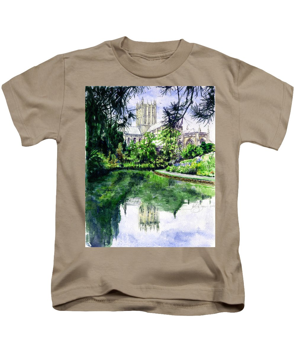 Wells Kids T-Shirt featuring the painting Wells Cathedral by John D Benson