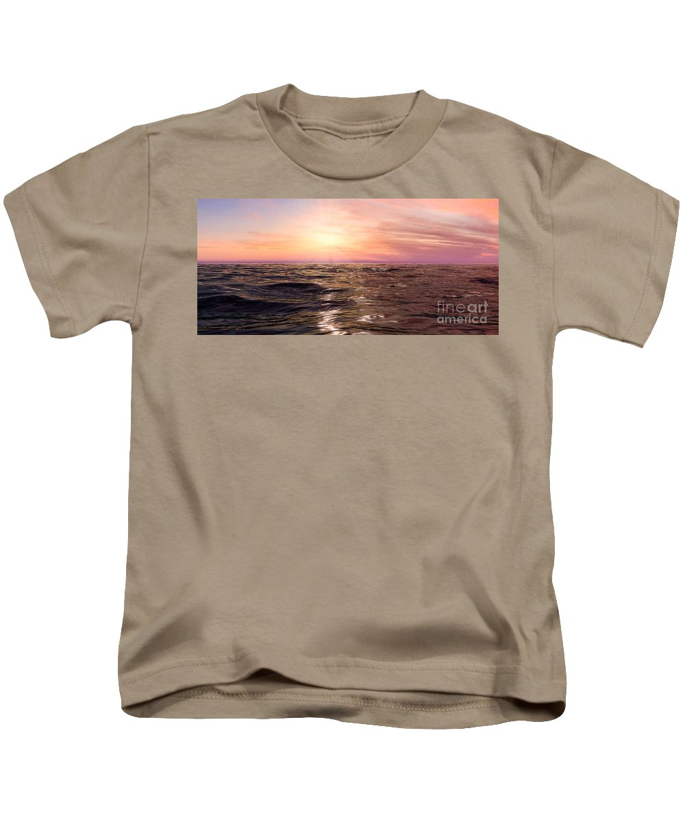 West Kids T-Shirt featuring the photograph West Sunset Romantic by Jetmir Sejdiu