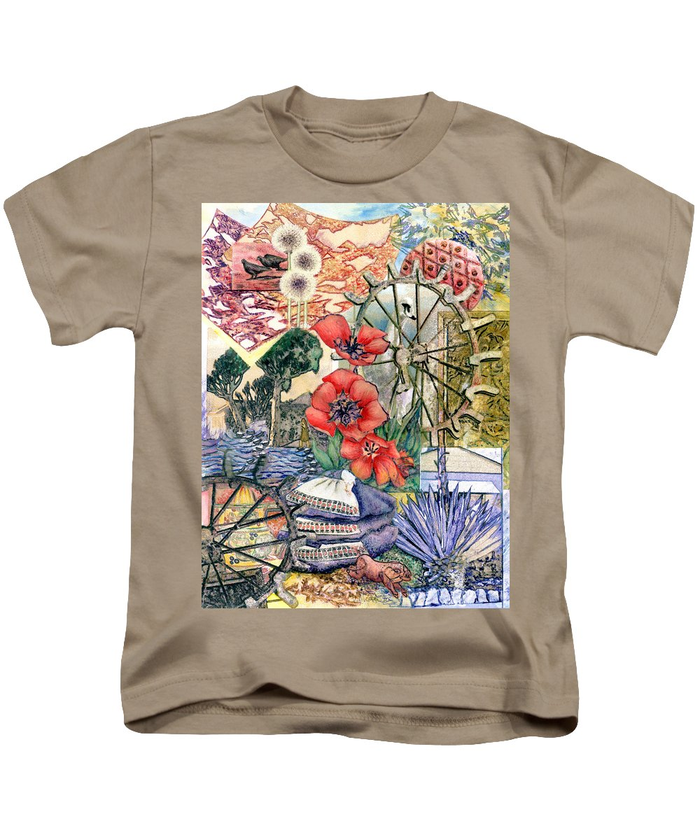 Orange Blue Brown Peony Tulip Red Yellow Swan Composite Images Collage Organic Surreal Beach Symbols Symbolic Calm Warm Interesting Photographic Original Balanced Images Natural Contemporary Nature Kids T-Shirt featuring the painting Wheel Me In by Valerie Meotti