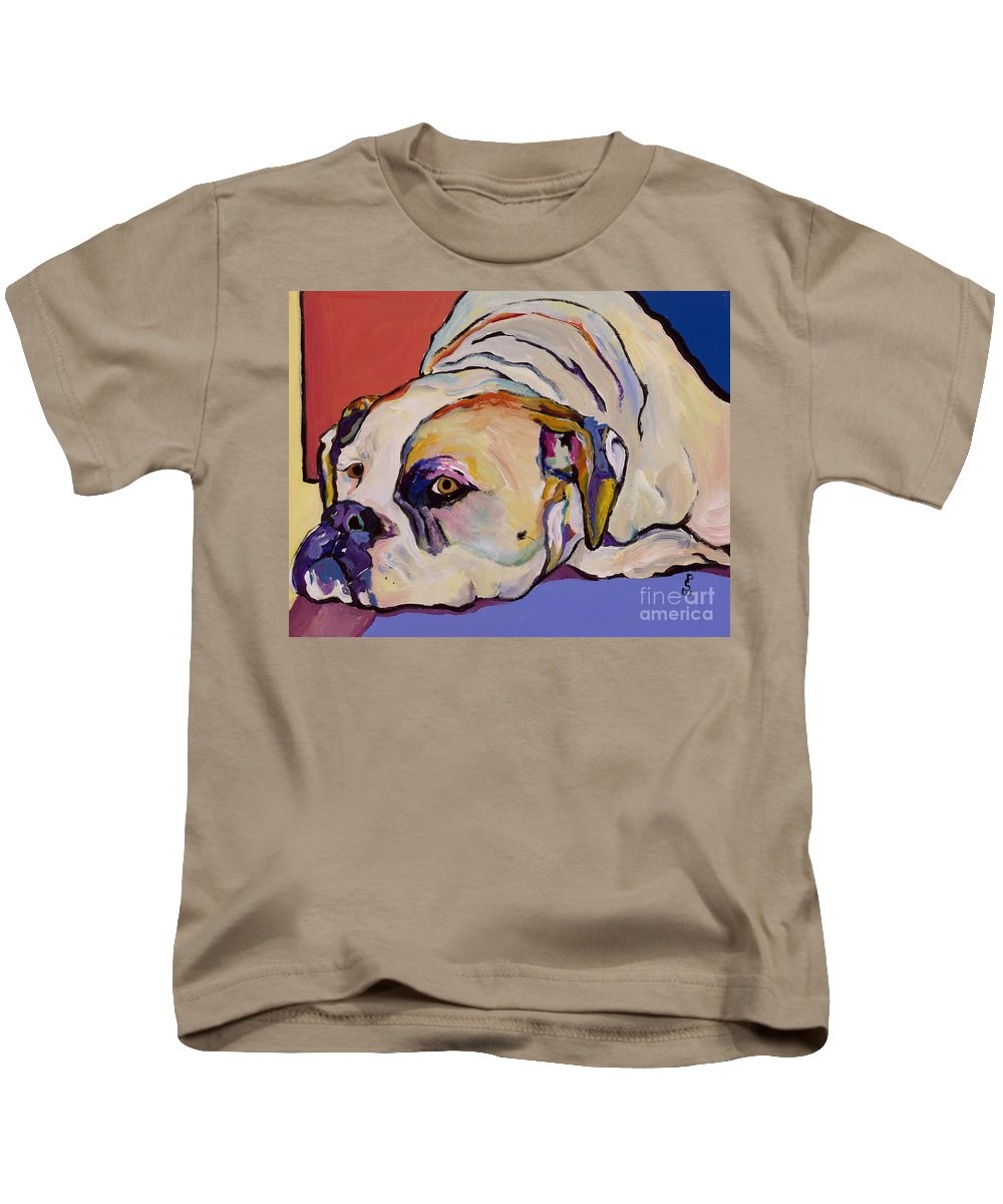 American Bulldog Kids T-Shirt featuring the painting Where Is My Dinner by Pat Saunders-White