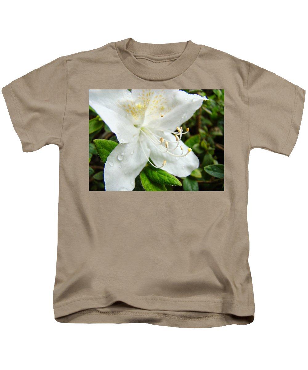 �azaleas Artwork� Kids T-Shirt featuring the photograph White Azalea Flower 9 Azaleas Raindrops Spring Art Prints Baslee Troutman by Baslee Troutman