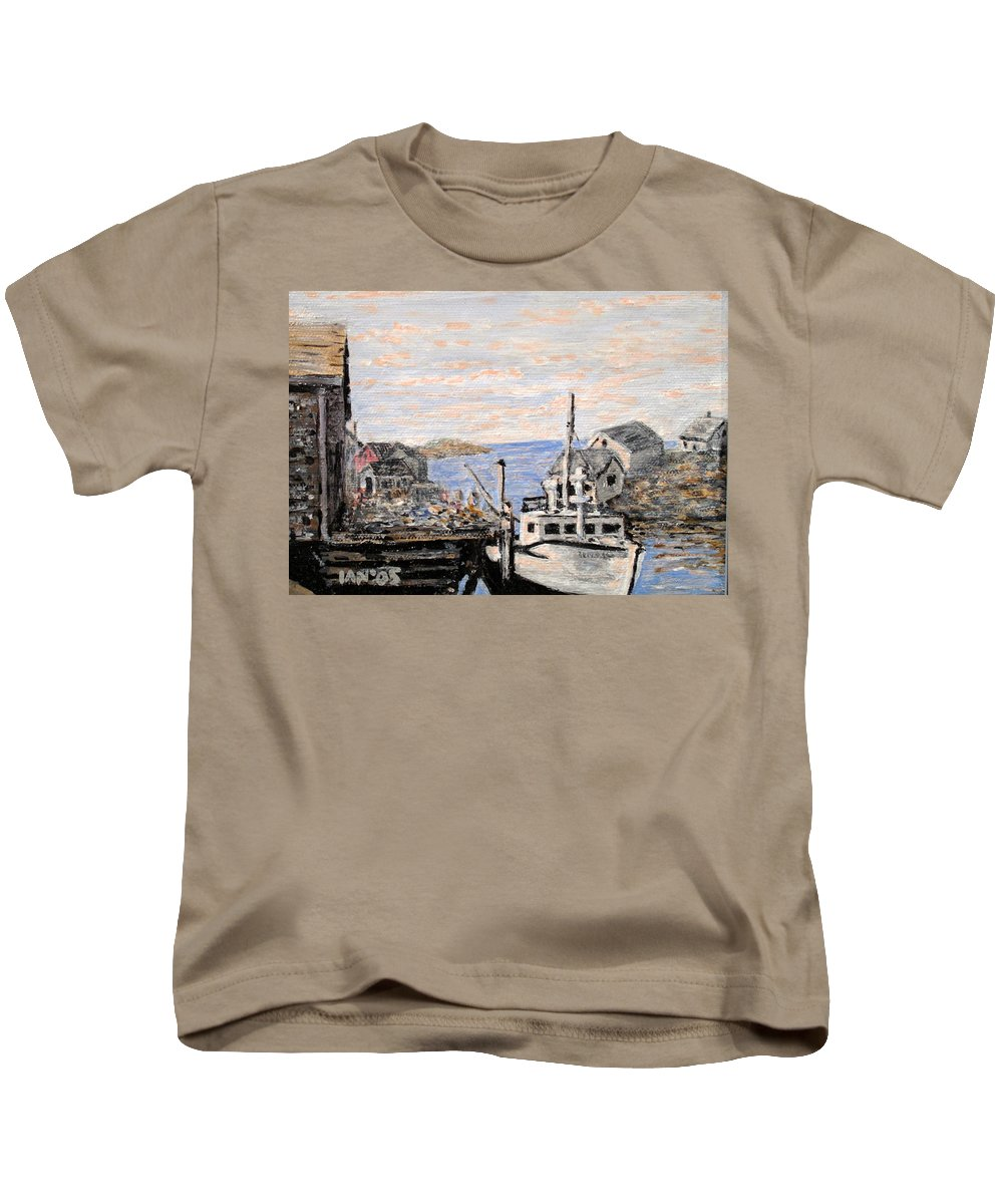 White Kids T-Shirt featuring the painting White Boat In Peggys Cove Nova Scotia by Ian MacDonald