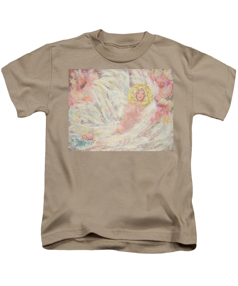 Angel Kids T-Shirt featuring the painting White Feathers Secret Garden Angel 4 by Natalie Holland