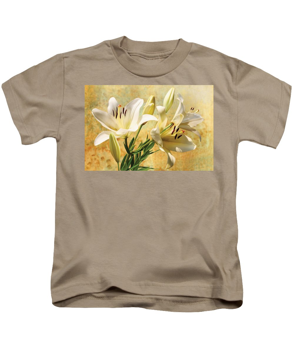 Lilly Kids T-Shirt featuring the photograph White Lilies On Amber by Robert Masheris