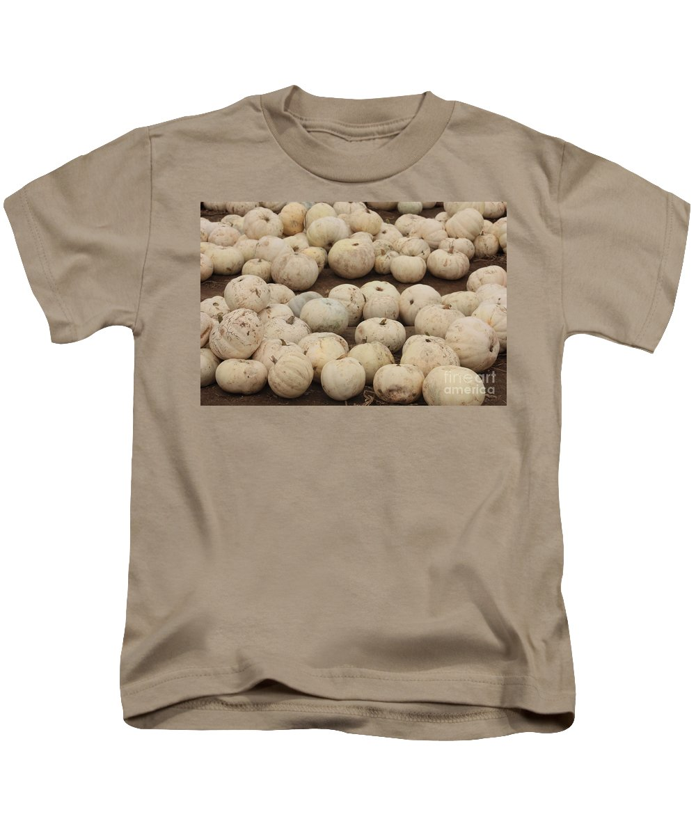 White Pumpkins Kids T-Shirt featuring the photograph White Pumpkins by Carol Groenen